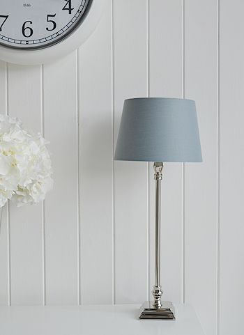 Chrome Table Lamp With Grey Shade New England Style Furniture And