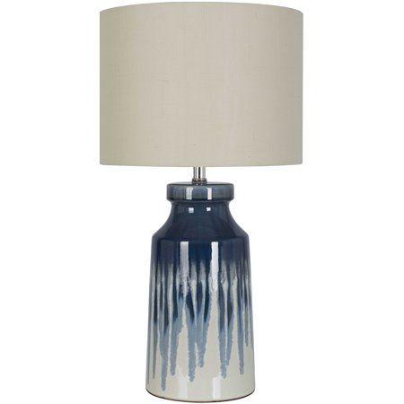 Better Homes And Gardens Large Drip Ceramic Lamp Walmart Com In 2020 Ceramic Lamp Lamp Blue Lamp