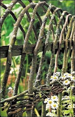 Fences - I particularly like wattle fences, apparently you can plant fresh cut willow branches and they'll take root and you'll have a green fence.