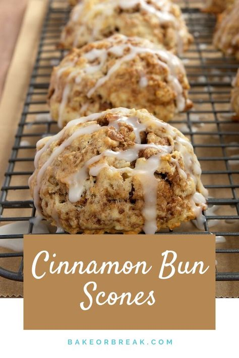 Simple to make and a pleasure to eat Cinnamon Bun Scones are a fabulous sweet cinnamon-y treat. - Bake or Break Mini Desserts, Just Desserts, Delicious Desserts, Yummy Food, Healthy Food, Breakfast Bake, Breakfast Dishes, Breakfast Scones, Sweet Breakfast
