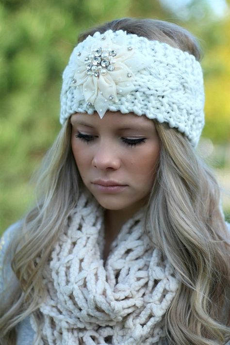 Ivory Knitted Embellished Headwrap Headband from NanaMacs Boutique. Soft and thick.