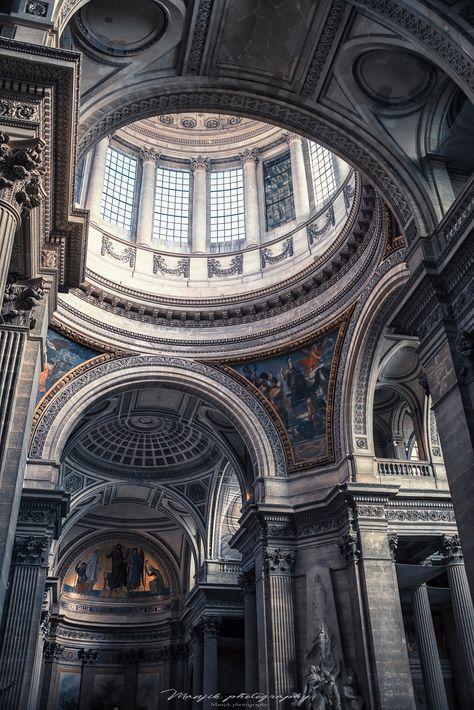 Neoclassical architecture - Panthéon in paris Architecture Baroque, Neoclassical Architecture, Ancient Greek Architecture, Beautiful Architecture, Beautiful Buildings, Architecture Design, Aesthetic Art, Aesthetic Pictures, Arquitectura Wallpaper