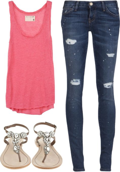 Pink top, skinny jeans, and sparkly sandals! Cute Spring Outfit!