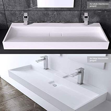 Lavabo double vasque à poser évier avec percage pour 2 ...