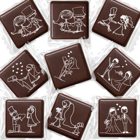Cioccolatini fondenti con impresse gag matrimoniali