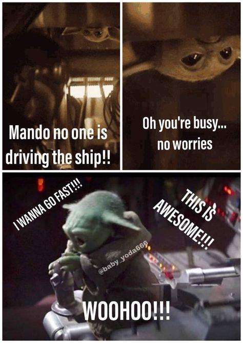 Baby Yoda Flying Star Wars Jokes Star Wars Humor Star Wars Yoda