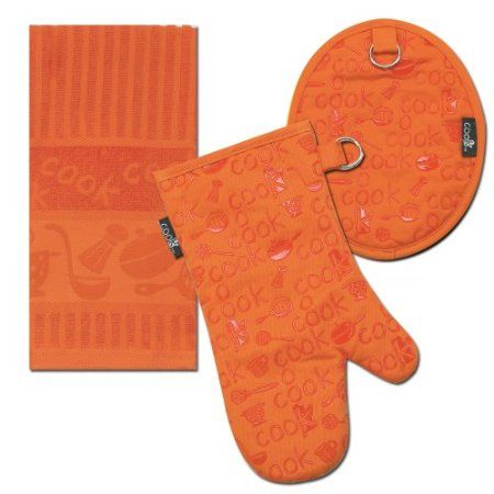 Amazon.com: Kay Dee Designs Cook Towel/Pot Holder/Oven Mitt Set, Orange: Home & Kitchen
