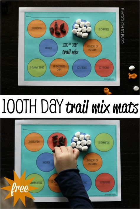 FREE and tasty activity for the 100th day of school. 100th day trail mix mats!!