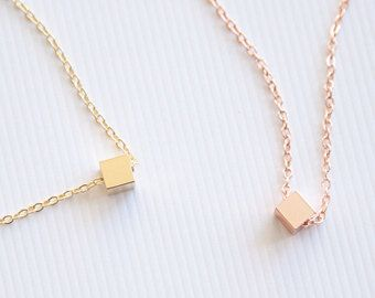 Tiny Square Minimalist Necklace Dainty Necklace Handmade Necklace Gold Silver Dainty Cube Necklace