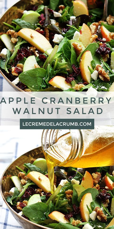 Crisp apples, dried cranberries, feta cheese, and hearty walnuts come together in a fresh Autumn Apple Cranberry Walnut Salad. An easy side dish for any favorite meal! Apple Salad Recipes, Chicken Salad Recipes, Healthy Salad Recipes, Vegetarian Recipes, Recipes For Salads, Spinach Apple Salad, Vegetarian Salad, Meal Recipes, Healthy Chicken