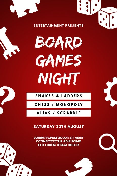 Board Games Event Flyer Template Contest Poster Board Games Board Game Night