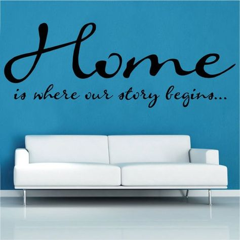 Home is where Quote Wall Sticker Kult Kanvas Colour: Brilliant Blue, Size: Extra Large