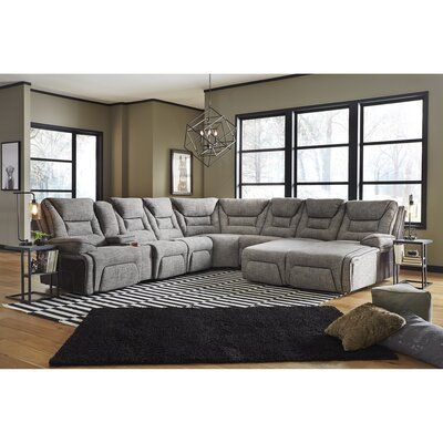 Red Barrel Studio This triple power sectional is the ultimate in relaxation and design. The upholstery has a rich texture with a two-tone look. Body Fabric: Fabric, Fabric: Domino Bold Living Room, Cozy Living Rooms, Living Room Sofa, Home And Living, Living Room Furniture, Home Furniture, Furniture Design, Recliner, Family Room