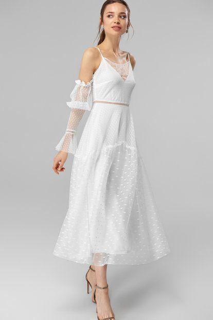 Ekru Dantel Detayli Abiye Elbise Elbise The Dress Moda Stilleri