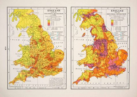 1947 Lithograph Population Density Maps England Industrial