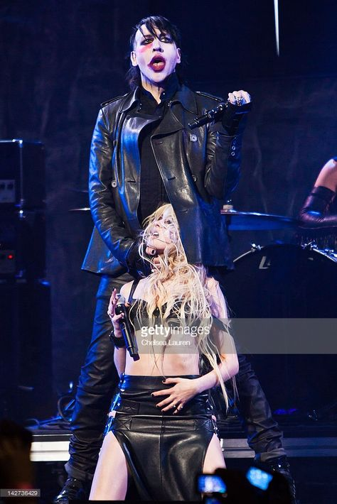 Marilyn Manson and Taylor Momsen perform at the annual Revolver Golden Gods awards at Club Nokia on April 2012 in Los Angeles, California.