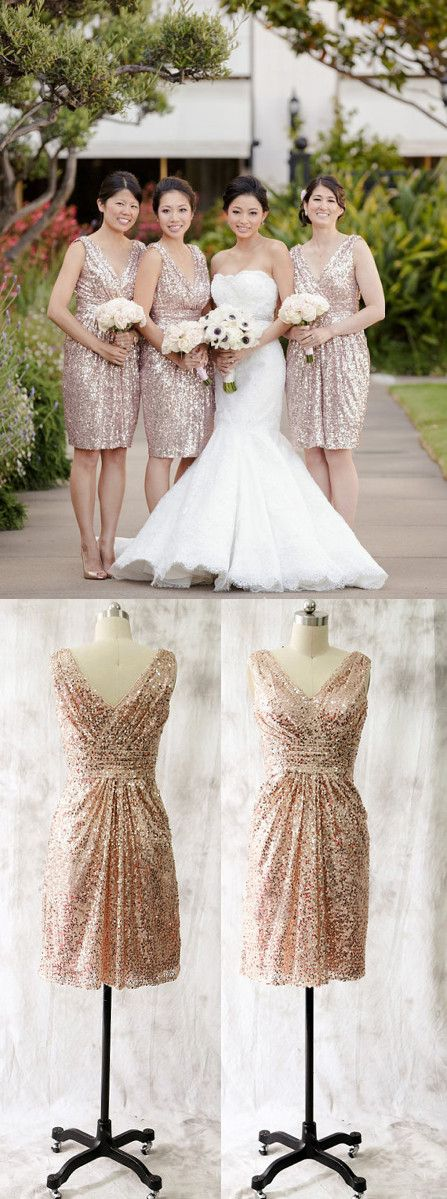 Mismatched styles.Gold sequin bridesmaid dress:... | Nails❤ | Pinterest