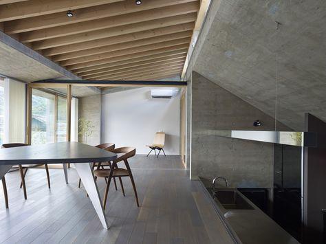 Sunken kitchen area interior beside living room - modern house ...