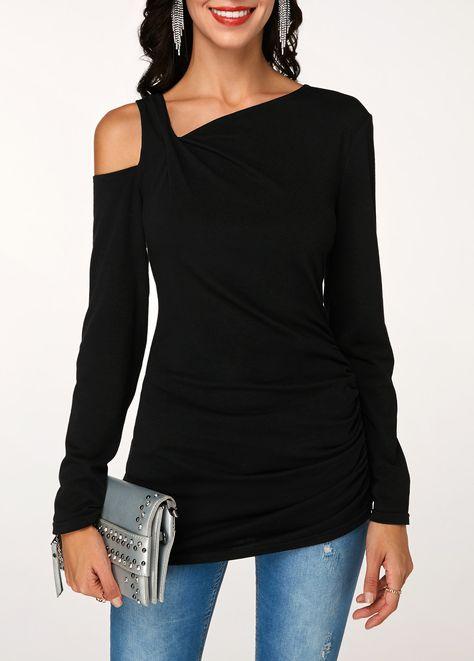 Cold Shoulder Long Sleeve Ruched Black T Shirt | Rotita.com - USD $22.80