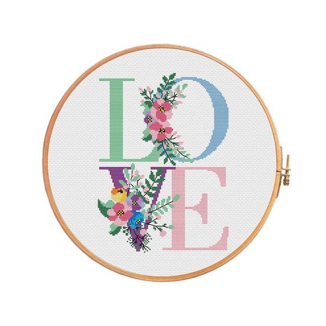 Spring LOVE with flowers for cross stitch pattern - letters alphabet personalized wedding Valentine day spring botanical initial lettering