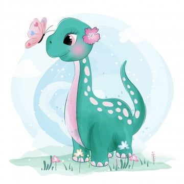 Cute Little Dinosaur With Butterfly Watercolor Birthday Baby