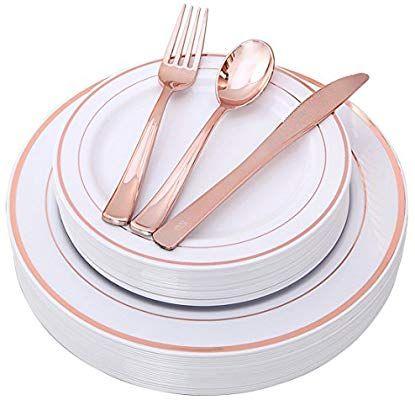 Amazon Com 100 Piece Rose Gold Plates With Disposable Plastic Silverware Elegant Tableware Gold Plastic Silverware Gold Dinnerware Disposable Wedding Plates