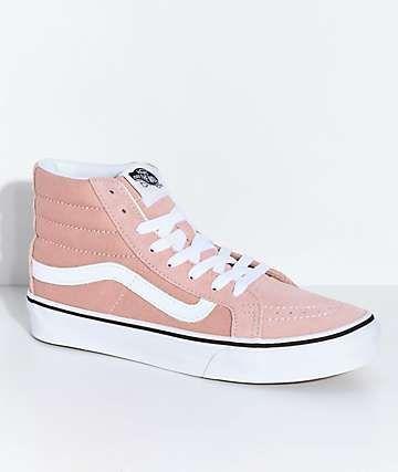 Vans Sk8-Hi Mahogany Rose & White Skate Shoes | Vans, Leather vans ...