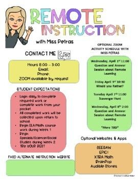 Remote Learning Syllabus Freebie by School and Sunshine   TpT