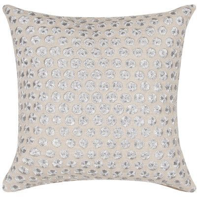 kate spade new york Embroidered Dot Throw Pillow Color: Ivory/White