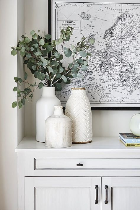 Large Black and White Map Art + White Vases + Eucalyptus Greenery + Styling a co. - Large Black and White Map Art + White Vases + Eucalyptus Greenery + Styling a counter Home Decor Accessories, Decorative Accessories, White Vases, Black And White Vase, Large White Vase, Large Vases, Large Floor Vases, Black White Decor, White White