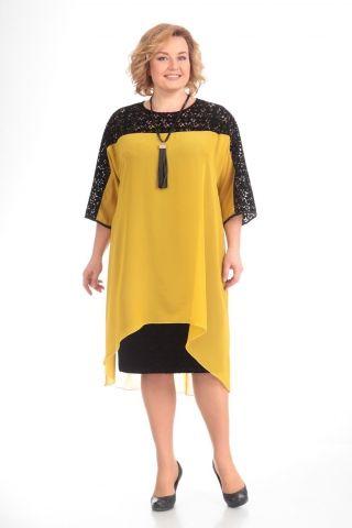 67a8d563cf27 Желтое платье с чёрным кружевом – купить в интернет-магазине «L MARKA»   доставка по России