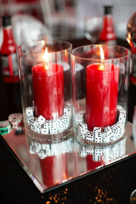 Red party themes, casino night party, las vegas party, game night p Red Party Themes, Casino Party Decorations, Casino Theme Parties, Party Ideas, Prom Themes, Themed Parties, Wedding Decorations, Event Ideas, Casino Themed Centerpieces