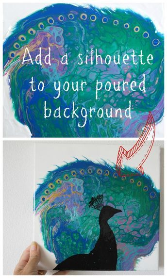 How To Add A Silhouette To An Acrylic Pouring Background Pouring Painting Acrylic Pouring Art Fluid Acrylic Painting