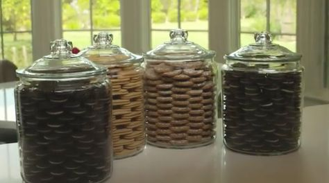 Khloe Kardashian's gorgeous cookie jars. She fills her Target glass jars with three different types of cookies: Oreos, Vienna Fingers and frosted oatmeal raisin. They are the  Heritage Hill 2-gallon glass jars  for about $14 each. Kylie Jenner copied her  and puts Oreos and Trader Joe Joe's. http://www.foodandwine.com/slideshows/khloe-kardashian-odom/10. https://www.youtube.com/watch?v=nS1_x1VfHb0/.  http://greatideas.people.com/2015/09/14/khloe-kardashian-cookie-jar-video-app/