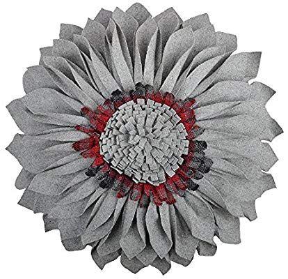 JWH 3D Handmade Rose Flowers Accent Pillow Decorative Wool Heart Shape Cushion x