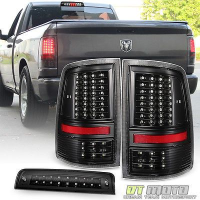 Black 2009 2018 Dodge Ram 1500 Full Led Tail Lights Led 3rd Brake Cargo Lamp Set Dodge Ram 1500 Dodge Ram 1500 Accessories Led Tail Lights