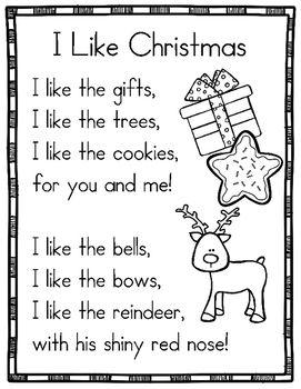 14 Christmas Themed Sight Word Poems For Shared Reading For Beginning Readers Poetry For Kids Kids Poems Kindergarten Poems