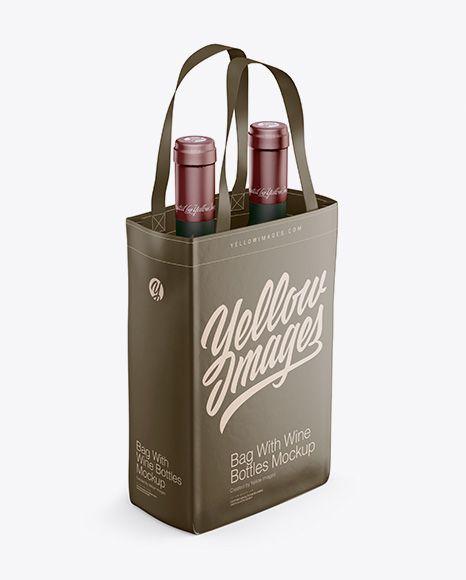 Download Bag With Wine Bottles Mockup Half Side View High Angle Shot In Bag Sack Mockups On Yellow Images Object Mockups Bottle Mockup Mockup Free Psd Mockup Psd