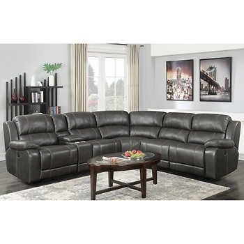 Dunhill Top Grain Leather Power Reclining Sectional Reclining Sectional Corner Sofa Design Sofa Set