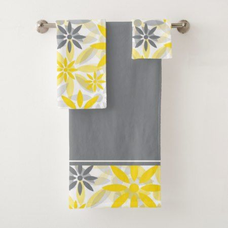 Yellow Gray Flower Graphic Pattern Bath Towel Set Zazzle Com Patterned Bath Towels Flower Graphic Graphic Patterns