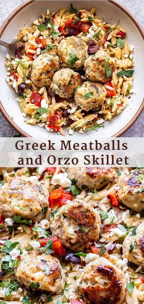 Greek Meatballs and Orzo Skillet