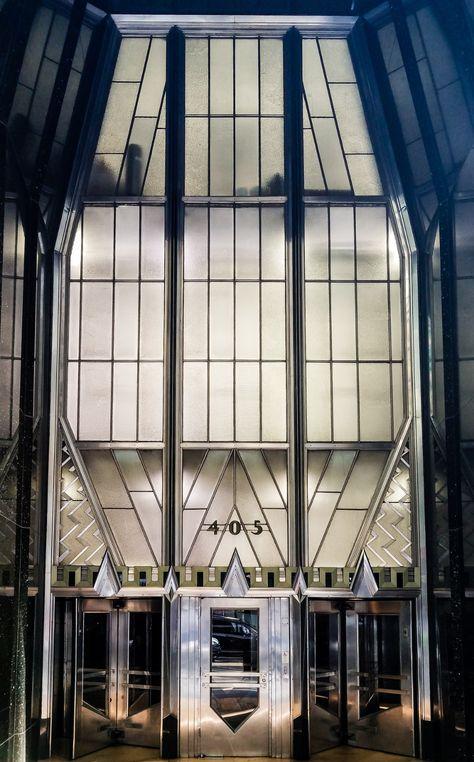 An entrance to the art deco Chrysler Building at 405 Lexington Avenue, New York City