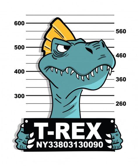 Hand drawn cool dinosaur vector design for t shirt printing Premium Vector