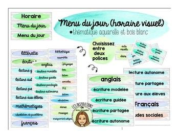 Menu Du Jour Horaire Visuel Theme Aquarelle French Schedule