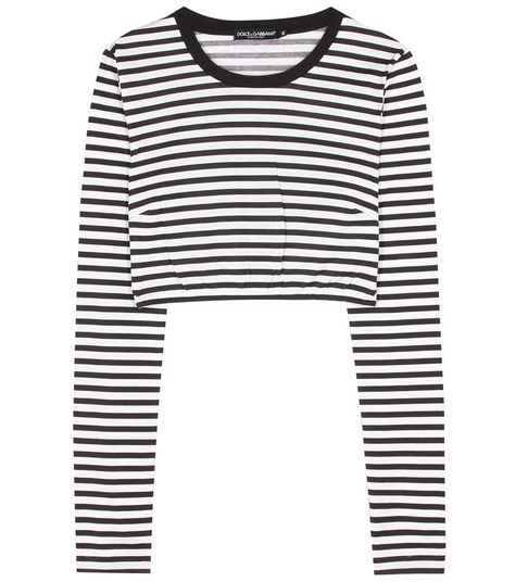Dolce /& Gabbana Black and Ivory Striped Cotton Short Sleeve Blouse 0