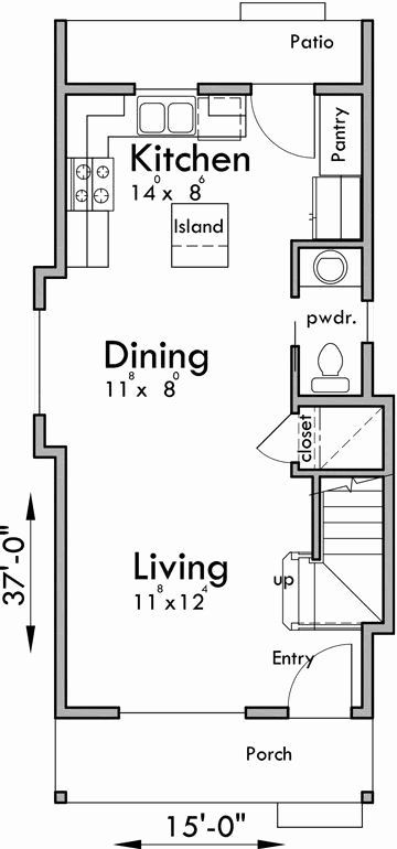 15 Foot Wide House Plans Beautiful Main Floor Plan For Skinny Single Family House With A Small Apartment Floor Plans Narrow House Plans Basement House Plans