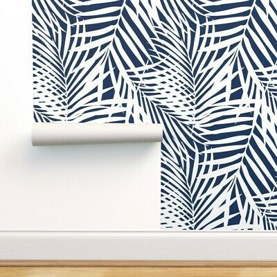 Peel And Stick Removable Wallpaper Palm Fronds White On Navy Blue Tropical Navy Wallpaper Wallpaper Removable Wallpaper