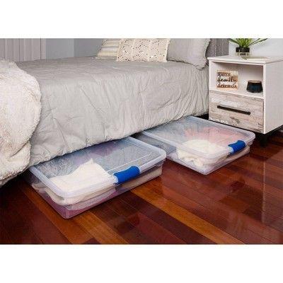 2pk 56qt Under Bed Modular Latching Clear Storage Bin Homz In 2020 Under Bed Storage Bed Storage Plastic Underbed Storage
