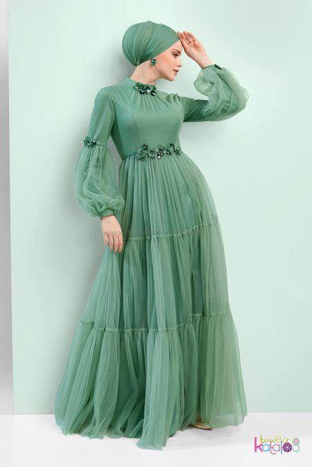 Cagla Cicek Detayli Tul Abiye Tesettur Abiye Modelleri 2020 2020 Parti Elbisesi Victorian Elbiseler Elbise Modelleri
