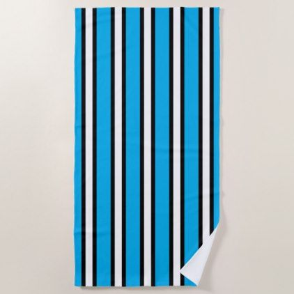 Black Blue And White Vertical Stripes Beach Towel Zazzle Com